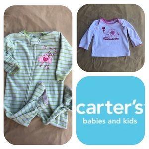 Carter's Fleece PJs & Shirt Girls 12M